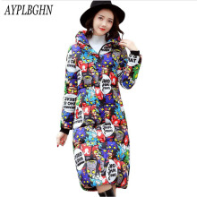 new Printing Cotton Jacket Women New Winter Coat Female Fashion Warm Parkas Hooded Women's Jacket Casual Coat Plus Size Parkas