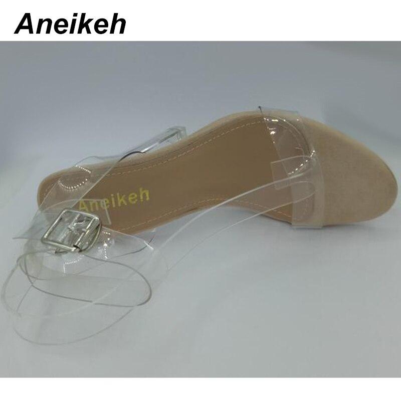 2018 Women Sandals Plus Size 35-41 Transparent PVC High Heels Shoes Woman Star Style Ankle Strap Gladiator Sandals Women Shoes