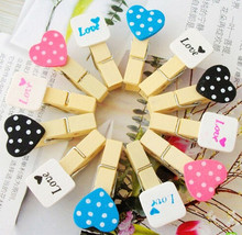 2016  Lovely Peach Heart Craft Wooden Banner Clips Pegs Prefect for Party Event Wedding Decoration