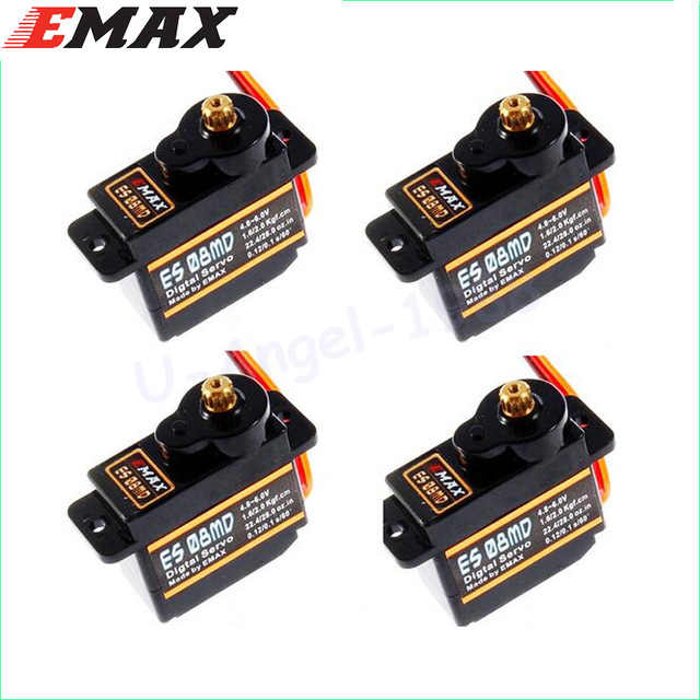 4x EMAX ES08MD Metal GEAR Digital Servo up sg90 ES08A ES08MA MG90S TREX 450 Free shipping 1pc original emax es08ma ii mini metal gear analog servo 12g 1 8kg high speed upgrade es08ma