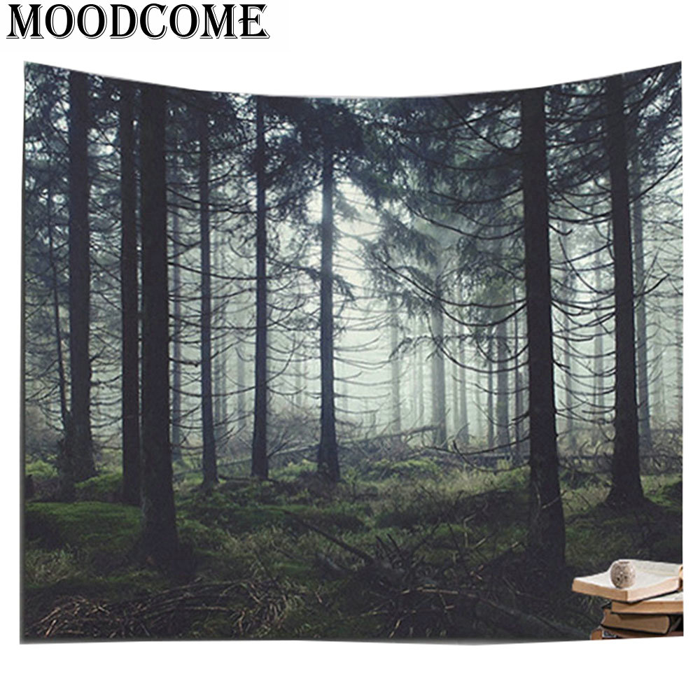 Forest decorative wall tapestries tenture murale polyester tapiz printed wall hanging blanket wall tapestry image