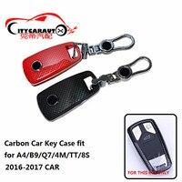 CITYCARAUTO carbon car key cover caser remote key shell cover bag FIT FOR AUDI A4 B9 Q7 4M TT 8S 2016 2017 CAR