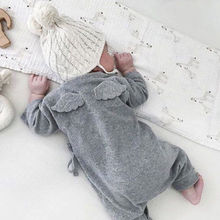 Cute Back Wings Baby Rompers Long Sleeve Gray White Cotton K