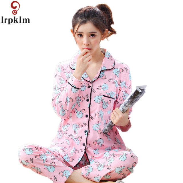 ac8dc2cd555f 2017 Brand Spring Pajama Set For Women Long Sleeve Cute Girl Sleepwear  Pocket Rabbit Print Design 100% Cotton pyjama femme SY619