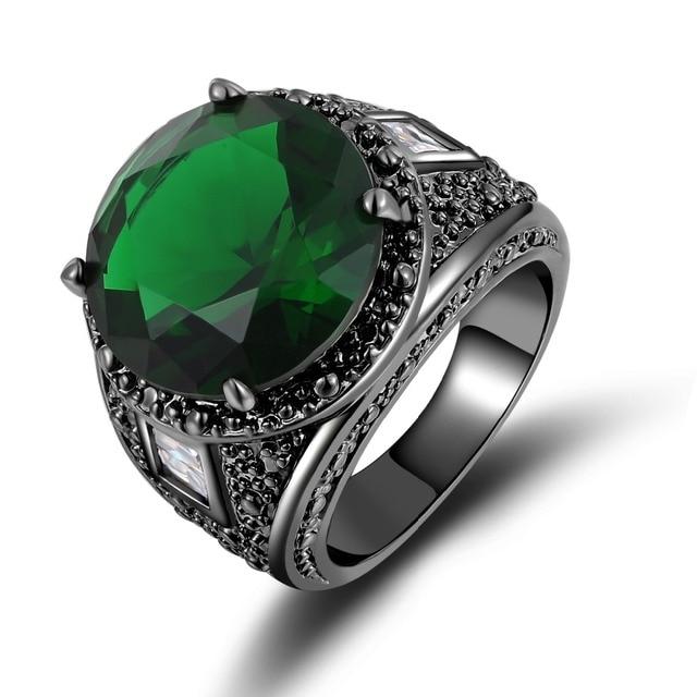 Male Fashion Jewelry Men S Simple Green Stone Ring Black Rhodium