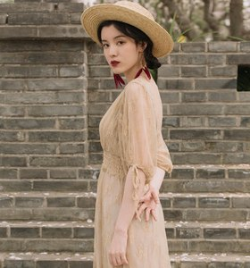 Image 5 - Fransız Vintage viktorya dönemi tarzı elbise Zarif Yarım Kollu Düğme V Yaka Uzun Yaz Bayan Elbise Parti Vestidos De Festa
