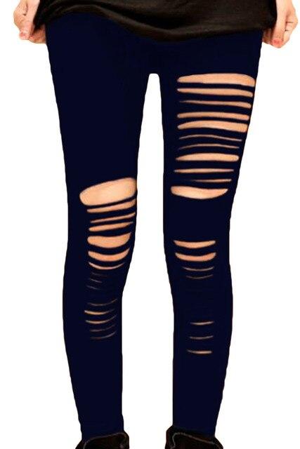 8b87c7df37a68 New Women Black Shredded Legging Fashion Slim Long Trousers Sexy Slashed  Hole Ripped Leggings Skinny Pants XL XXL