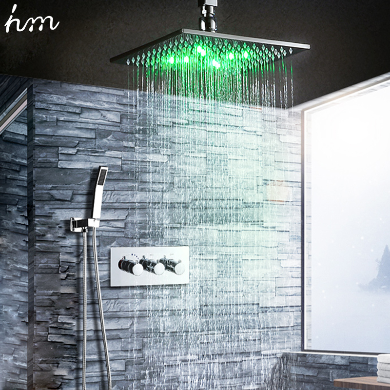 Bathroom Fixtures Modern Shower Set LED Rain Shower 10'' Ceiling Head Shower Set With