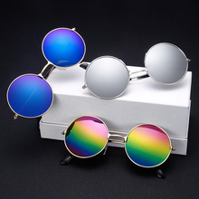 Модный круглый металлический каркас солнцезащитные очки Для мужчин Для женщин телефона в ретро стиле с изображением принца зеркало Круглые Солнцезащитные очки для женщин с разноцветными шнурками-Цвета опционально