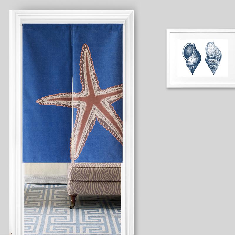 nuevo estilo japons noren puerta cortina de lino vintage nautical estilo estrella de mar de coral
