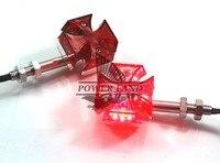 New 2x Custom Red Lens 12V Motorcycle Mini Universal Chrome Maltese Cross LED Turn Signal Light