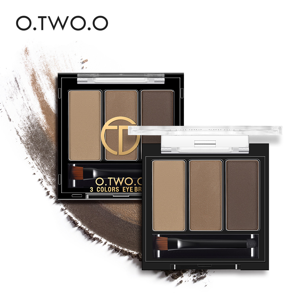 O.TWO.O Eyebrow Powder 3 Color With Brush Brow Palette Waterproof Long-lasting Long-wear Natural Eye Brow Contour Highlight Kit