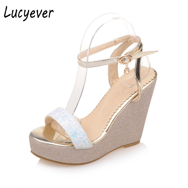 Lucyever Fashion Women's Glitter Wedges Sandals High Heels Platform Bling Leather Shoes Woman Casual Ankle Strap Buckle Shoes bling patent leather oxfords 2017 wedges gold silver platform shoes woman casual creepers pink high heels high quality hds59