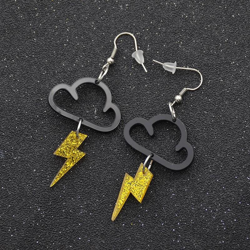 Fashion Lychee New Acrylic Cute Cloud Lightning Earrings Hot Charm Drop Dangle Women Girls Fashion Jewelry