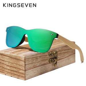 Image 2 - KINGSEVEN 2019 prawdziwe bambusowe okulary przeciwsłoneczne drewniane spolaryzowane drewniane okulary UV400 markowe okulary przeciwsłoneczne drewniane okulary przeciwsłoneczne z drewnianym etui
