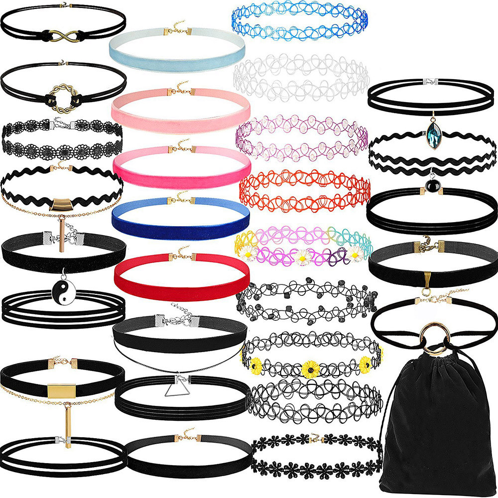 30 Pieces Choker Necklace Set Stretch Velvet Classic Gothic Tattoo Lace Choker For Women Charm Choker Necklace M.14 multilayered geometric charm choker necklace