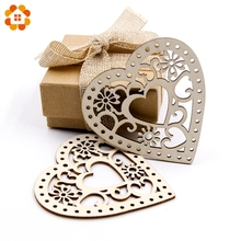 10PCS Wooden Hollow Heart Carved Flower Christmas Pendants Ornaments Christmas Party Gift Decoration Xmas Tree Ornaments Supplie(China)