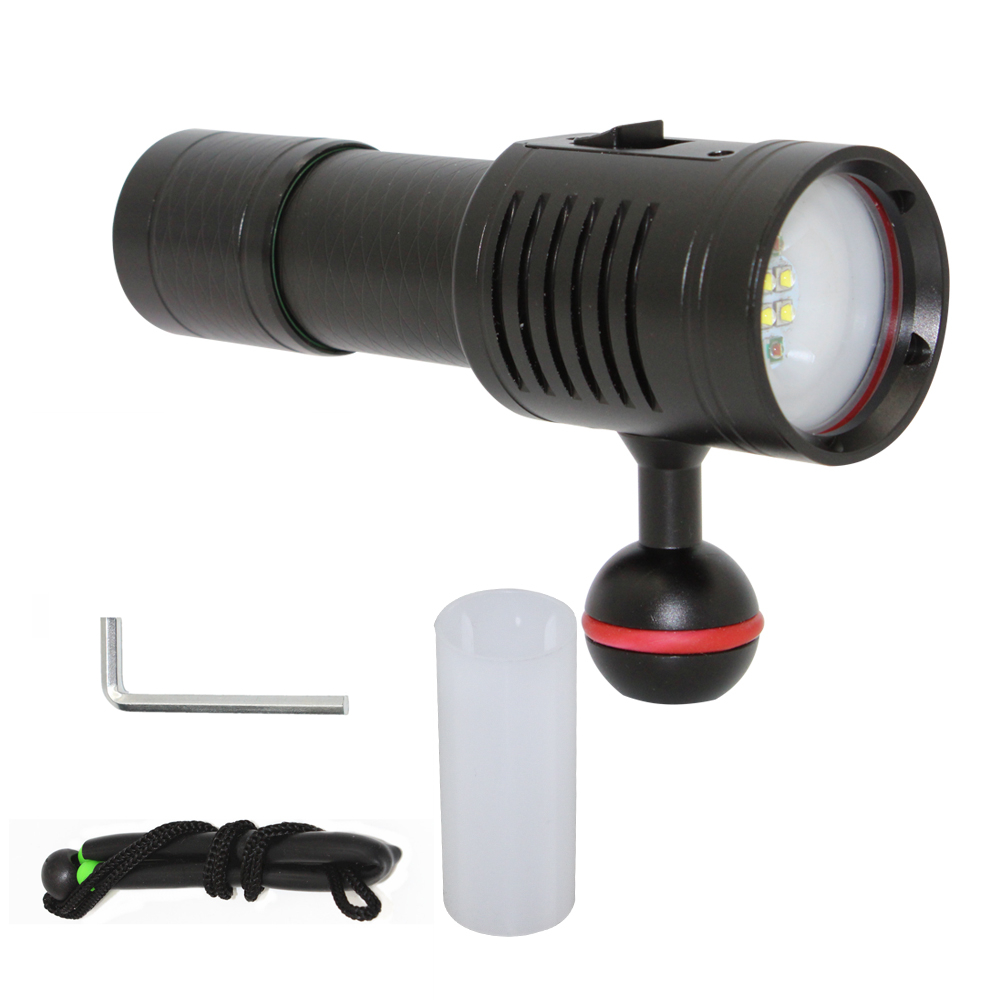 Underwater Photography Diving Flashlight DL-73R Video Lamp White Red CREE LED Light Scuba Torch 6-Modes Photo Lighting