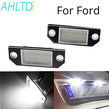 2pcs Car LED License Number Plate Light Lamp 12V 24 LED White Light fit for Ford Focus 2 C-Max Kit Canbus Error Free Car Styling цена 2017