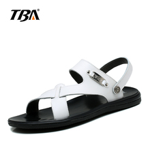 TBA Fashion British Casual Peep-Toe Beach Slippers Waterpoof Cow Leather Male Sandals Cross Tied Style Men's Flip Flops 5981