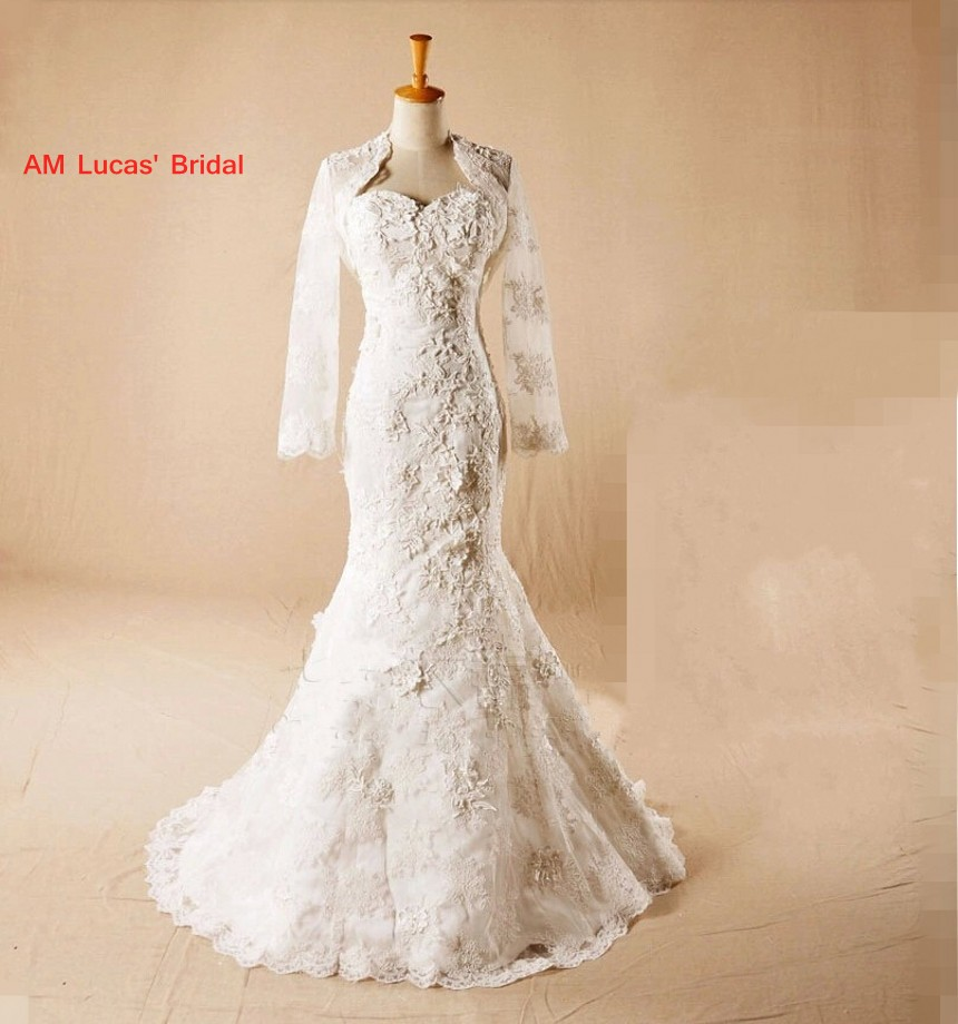2019 New Mermaid Wedding Dresses With Jacket Sweetheart Neckline Robe De Mariage Bridal Party Dresses Couture