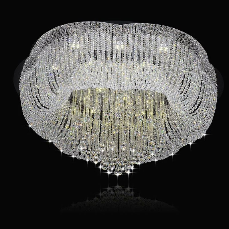 New Flush Mount Big Crystal Chandelier Lighting Fixtures LED Lamp Living  Room LightsModern Design Crystal Lights