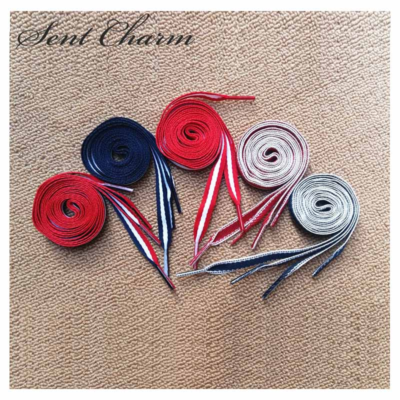 цена SENTCHARM 3pairs/Pack Blue White Red Fashion Flat Shoelaces Colorful Shoestrings For Casual Shoes Cheap онлайн в 2017 году