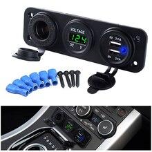 Автомобильное зарядное устройство с двумя USB разъемами для мотоцикла, 2 usb-адаптера+ 12 В/24 В, гнездо для прикуривателя, светодиодный+ Цифровой вольтметр, зарядное устройство 3,1 а/4,2 А