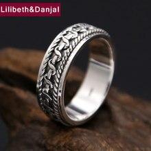 097c71775ed1 Anillo negro Vintage 100% Real 925 plata esterlina para hombres y mujeres  Rotatable compromiso Tailandia plata anillo joyería FR.