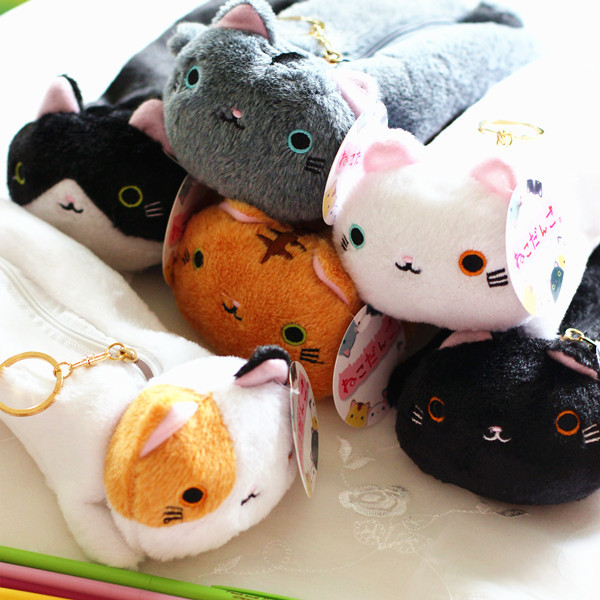 Japanese Style Cute Kawaii Varied Color Cat Pencil Canvas Case Stationery Storage Organizer Bag School Office Supply Escolar