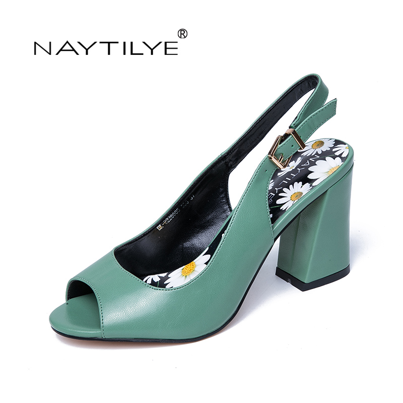 NAYTILYE 2018 ECO-leather casual sandals Summer shoes woman peep-toe high heels hoof back buckle strap green Russian size 35-40 цена