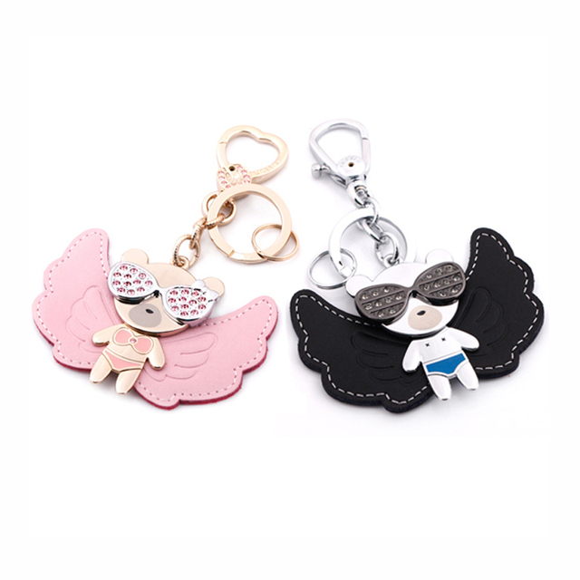 milesi brand angle bear leather keychain cute cartoon fashion couple key chain Rhinestone bag pendant car chaveiro D0089 D0090