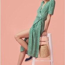 2019 Fashion Women Floral Print Bohemian Dress Beach V-Neck Sexy Dress Polka Dot Split Maxi Dress цена в Москве и Питере