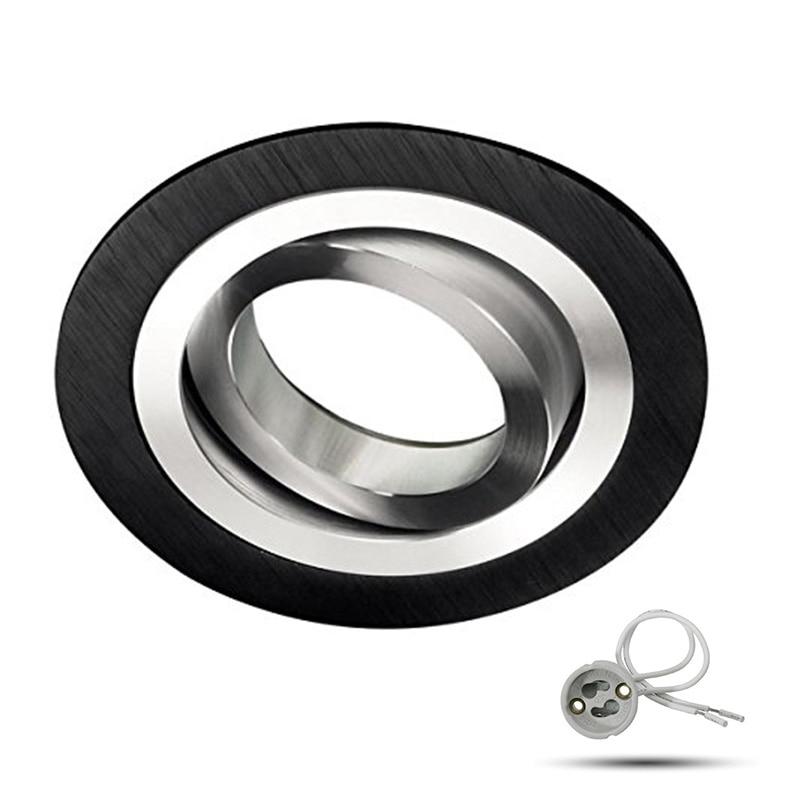 Aluminum Round Recessed Ceiling Spotlight Mounting Frame Adjustable GU10 MR16 Ceiling Fixture Lamp Includes Base Socket Black