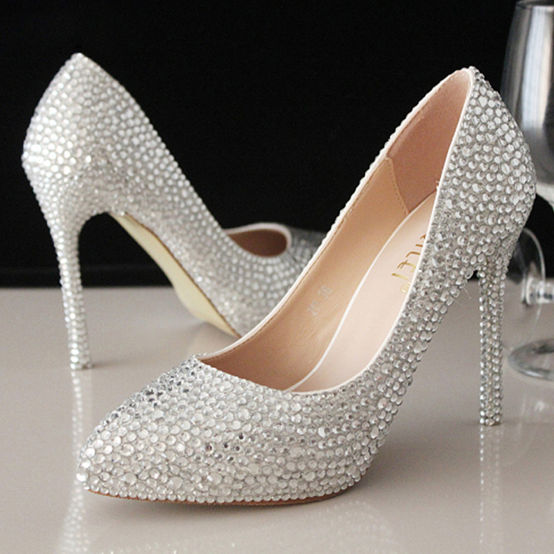 Women High Heels Beaded Bridal Evening Prom Party Wedding Dress Bridesmaid Shoes Sweet Rhinestone Beaded lady Formal Shoes new arrival white wedding shoes pearl lace bridal bridesmaid shoes high heels shoes dance shoes women pumps free shipping party