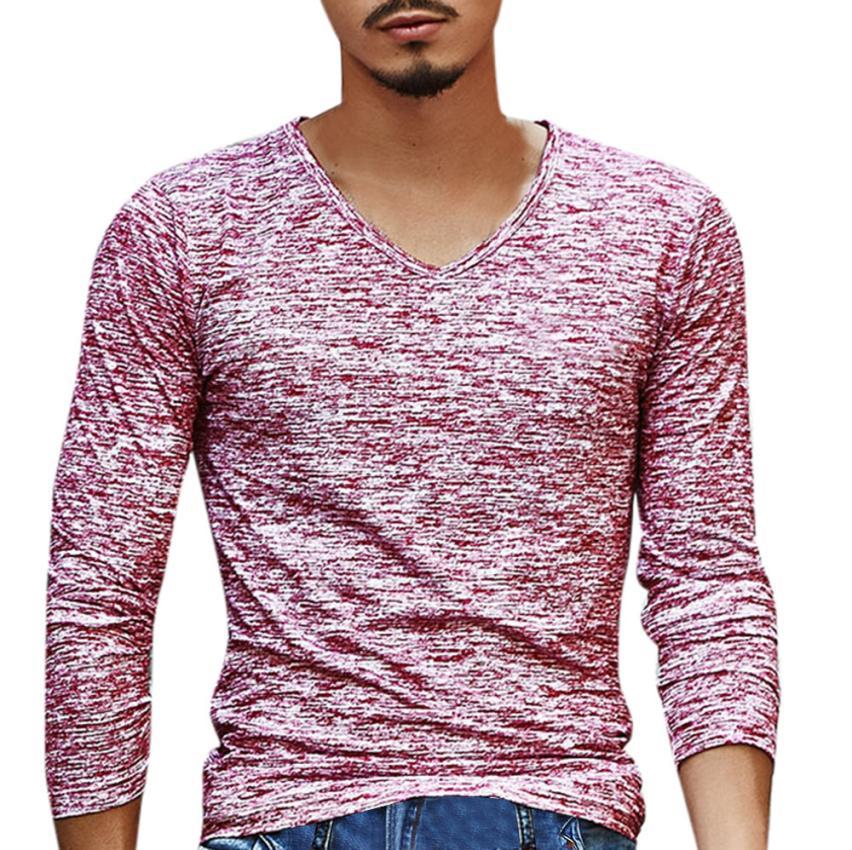 15# Мужская футболка с v-образным вырезом, футболка с длинным рукавом, хлопковая футболка для фитнеса размера плюс, Мужская Уличная футболка для спортзала - Цвет: Red