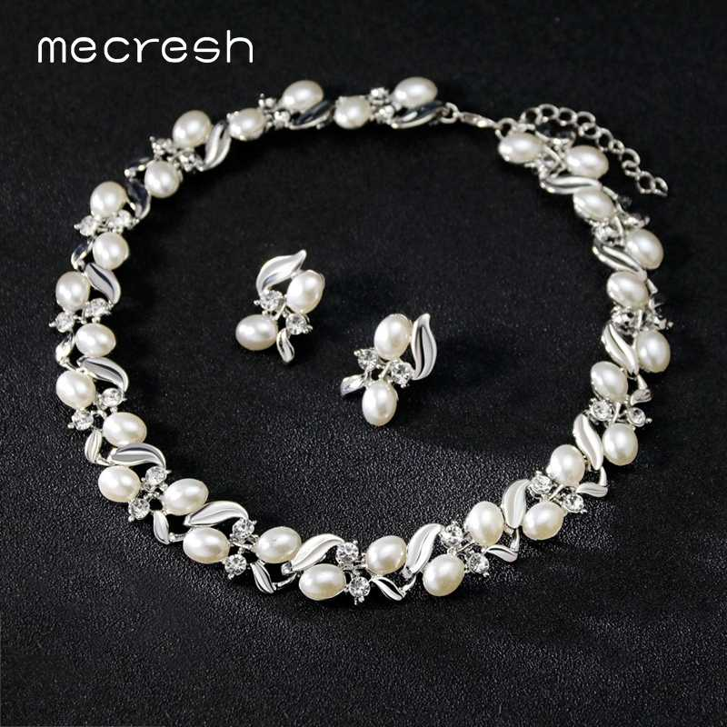Mecresh Silver Color Simulated Pearl Bridal Jewelry Sets Indian Beads Leaf Necklace Stud Earrings Women Wedding Jewelry Set L576