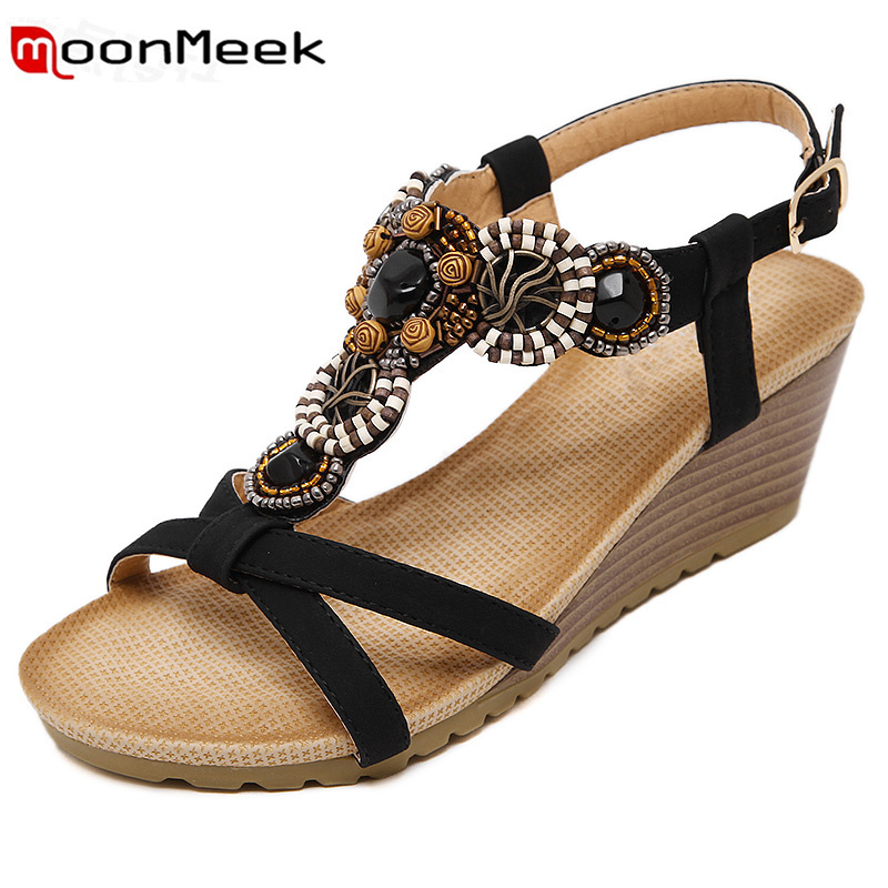 MoonMeek woman sandals ethnic style Agate beads Bohemia wedges shoes fashion elegant summer shoes  comfortable new arrive mengyushawomen sandals flips flops 2018 summer style shoes woman wedges sandals fashion rivet crystal shoes