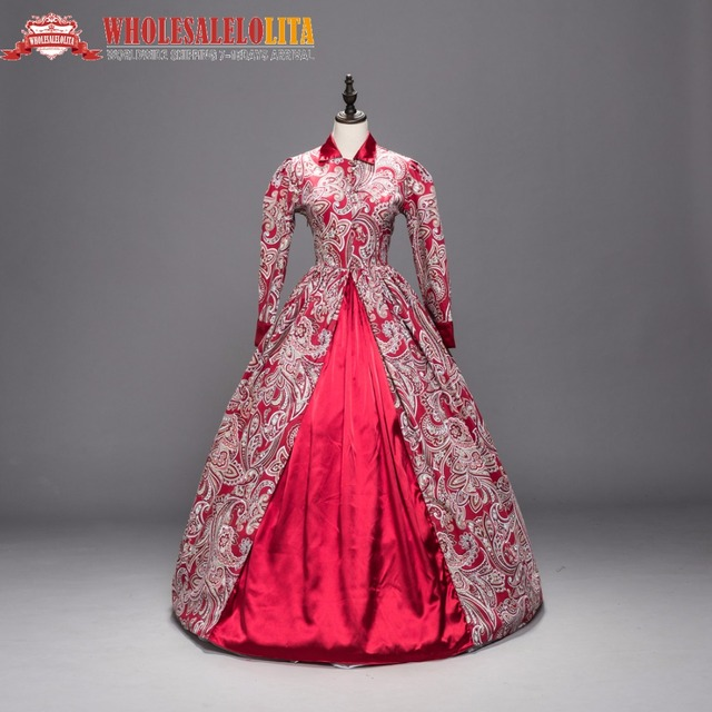 Victorian Gothic Period Red Cotton Dress Ball Gown Ghost Reenactment ...
