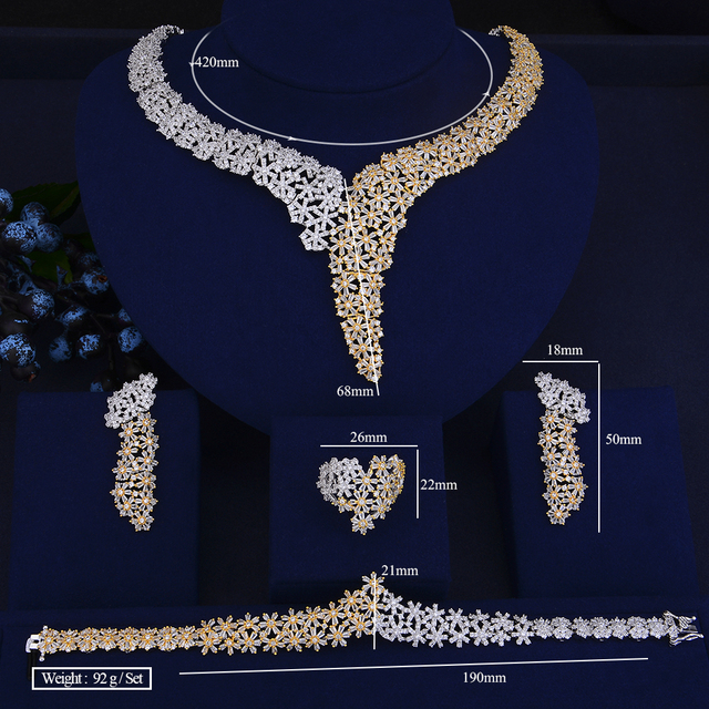 Elegant Crystal Rhinestones Large Choker Necklace Earrings Bracelet Ring Set  5