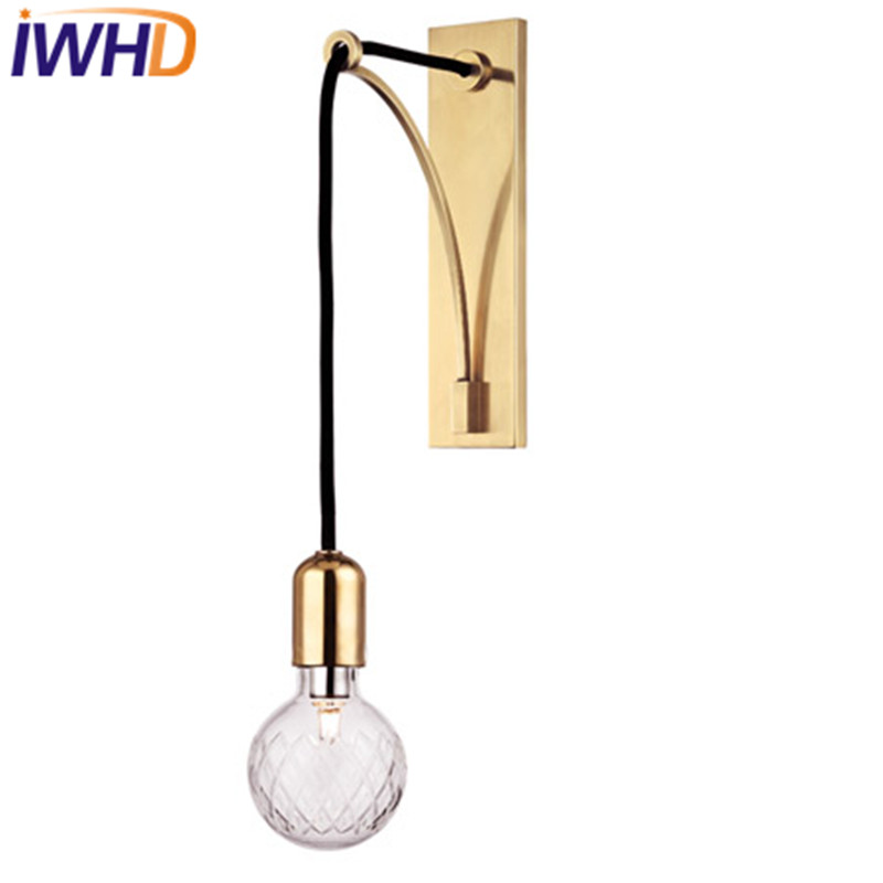 American Simple Modern Iron Glass LED Wall Light Fixtures Creative Lamp Bedside Wall Sconce Indoor Lighting Lampara Pared купить