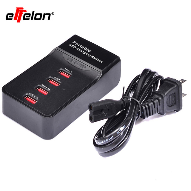 Effelon Portable Usb 4 Ports Charging Station For Camera Mobile Phone For Power Bank Tablet