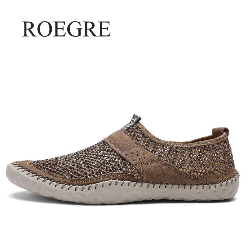 ROEGRE Summer Men Mesh Shoes Big Size Male Casual Shoes Breathable Slip-on Chaussure Homme 2018 New Anti-slip Male Flats Shoes plus size 42 men denim jeans new 2017 autumn brand afs jeep loose free type breathable male casual clothing pantacourt homme
