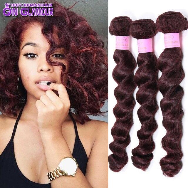 99j Virgin Hair 7a Mink Brazilian Loose Wave Hair 3 Pcs Lot Dark Red