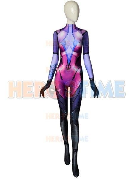 Custom Made 2018 Newest Widowmaker Costume Game Girl Cosplay Costume Spandex printing Zentai Superhero Bodysuit Widowmaker