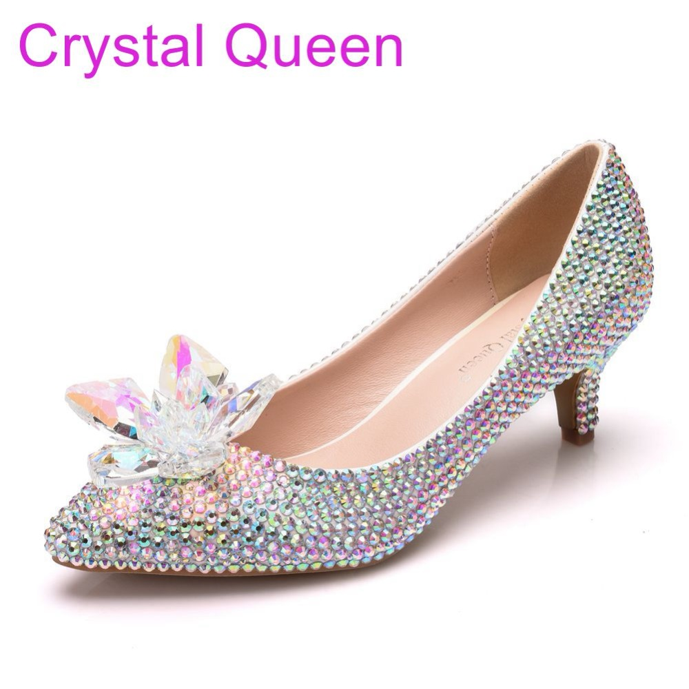 Crystal Queen Luxurious Pumps Wedding Shoes White
