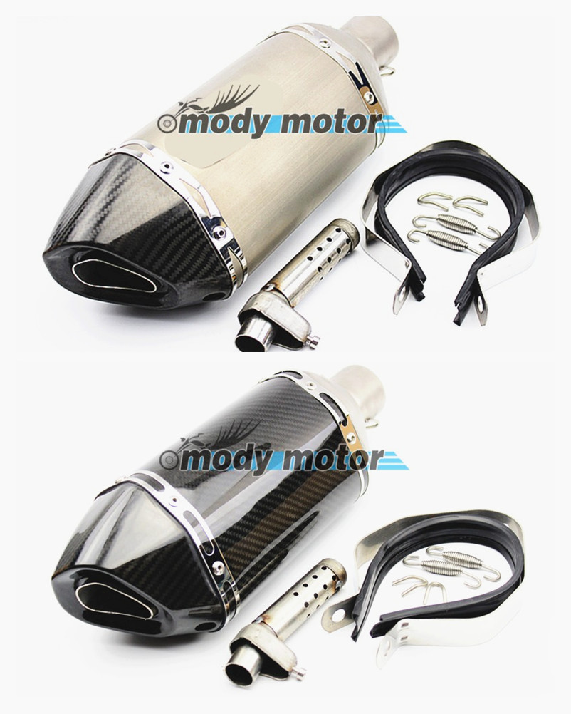 Universal real Carbon Fiber Color 51mm silencer Motorcycle Exhaust Muffler Pipe Escape Akrapovic Exhaust Fit for Most motorcycle