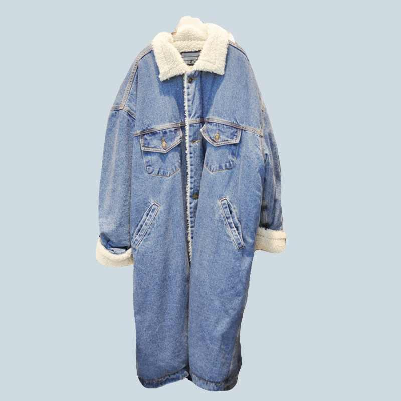 Winter Warm Bont Jeans Jas Vrouwen Bomber Jacket Lange Denim Jasje Vrouwelijke Jas met Volledige Warme Voering & Front Knop platte Zakken