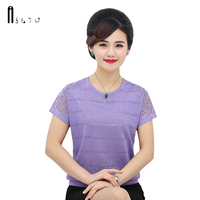 ASLTW Lace Sleeve Female T Shirt Summer New 2019 Causal Thin Women's Knitted Tops Plus Size Solid Hollow T Shirt for Women