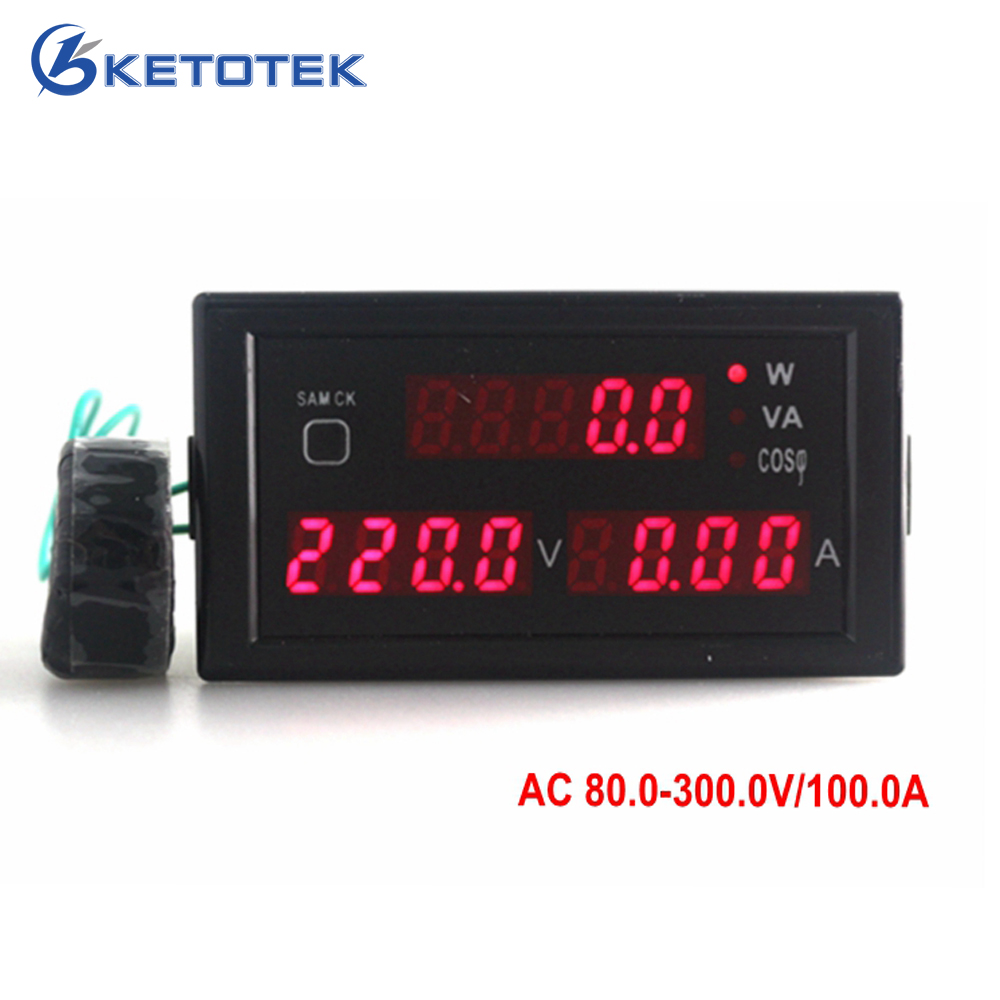 AC 80-300V 0-100A voltage amp power meter monitor with red led display ampere volt active apparent power power factor CT ...